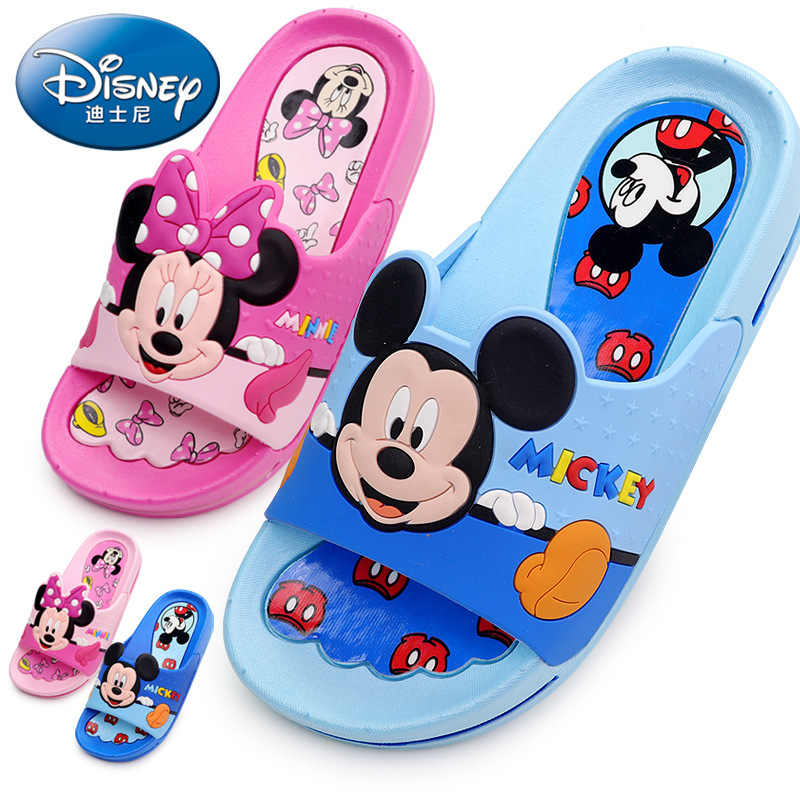 2019 Disney children's shoes baby slippers summer cartoon Mickey indoor anti-skid boys and girls baby cool Minnie slippers