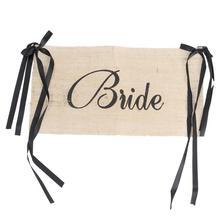 Rústico novia y novio Silla de arpillera banner para decoración de bodas silla signos de fiesta Vintage bebé mostrar guirnalda Decoración