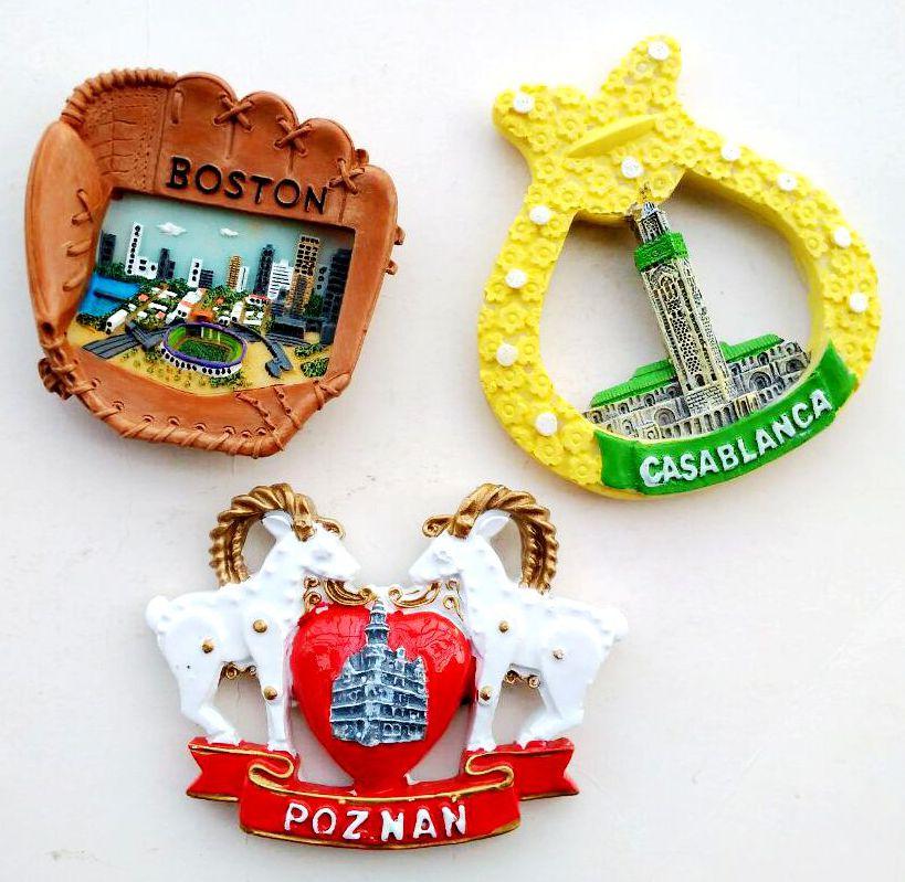 Boston Baseball Field , Morocco, Casablanca 3D Fridge Magnets Poznan Tourism Souvenirs Refrigerator Magnetic Stickers