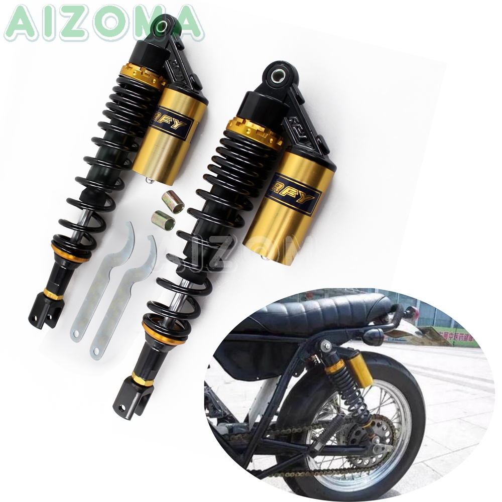 2x Motorcycle 360mm Shock Absorbers Gold Rear Suspension Clevis For Honda KTM Suzuki Kawasaki Scooter Quad