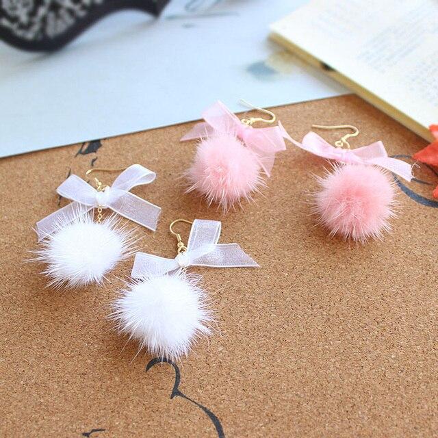 95a5b54a220cc2 White Pink Fluffy Mink Fur Earrings Pompom Ball Long Dangle Earrings Pom  Pom Drop Earring Cute Bowknot Jewelry Gift wholesale