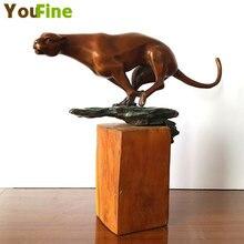 Hot Designs bronze leopard sculpture Art Decoration Sculpture Bronze big cat Statue