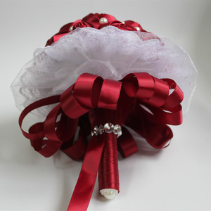 Image 4 - POP Style Pearl Wine Red Silk Ribbon Flowers Bridal Wedding Bouquets Romantic Lace Wedding Bridesmaid Stitch Bouquet W239