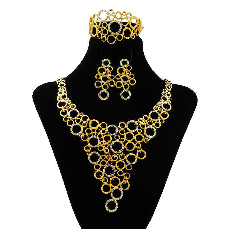 """Полный Кристалл большое ожерелье серьги наборы пончик соединение для подвески-шарма Дубай цепочка с надписью """"Италия"""" наборы качественные золотые ювелирные изделия Модные аксессуары"""