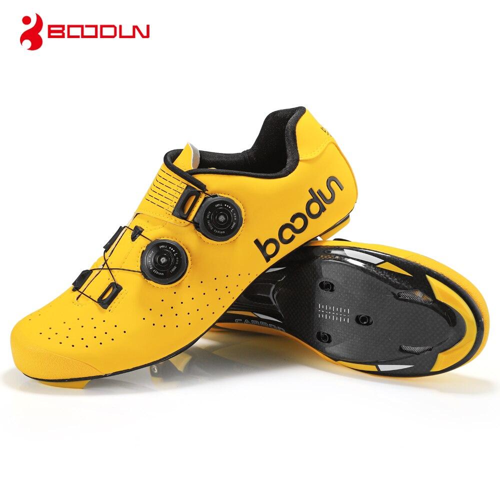 BOODUN chaussures de vélo de route semelle en carbone 2019 chaussures de vélo de route hommes autobloquant course baskets de vélo respirant professionnel