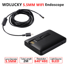 Android Endoscope 5.5MM Lens 2M cable iphone endoscope camera IOS android with 6 led Mini Wifi endoscope