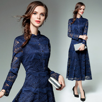 Women Clothing Europe Style 2018 New Spring Autumn Fashion Buttons Lace Dress Vintage Patchwork Emboridery Long