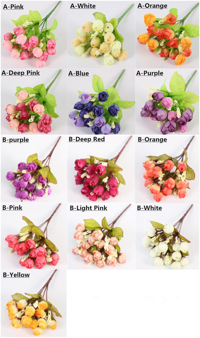 Autumn 15 Heads Silk Roses Bract Artificial Flower For Wedding And Christmas Decor 9