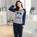 2017 mujeres de la manera encantadora trajes de ocio 100% algodón ropa de dormir de las mujeres pijamas de dibujos animados informal de manga larga pijamas de las mujeres