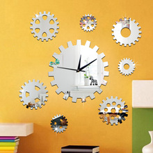 DIY gear mirror wall clock Bedroom living room mute quartz Acrylic self-adhesive sliver gold sticker