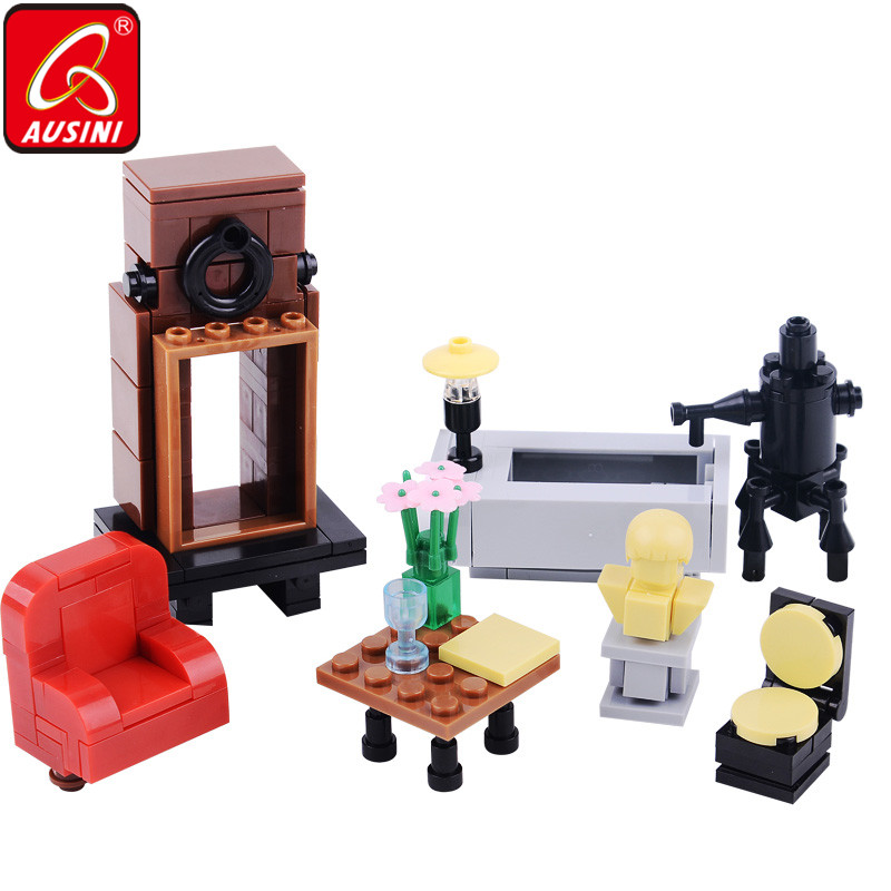 AUSINI Furniture Building Blocks Toys for Children Mini Sofa Table Chair Block Bricks Model Legoings Creator Kids Playthings