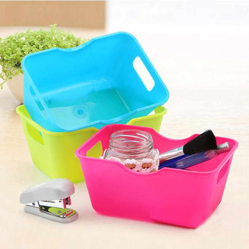 High Quality Plastic Office Desktop Storage Boxes Makeup Organizer Box Holder Sundries Container Case Solid Color For Home