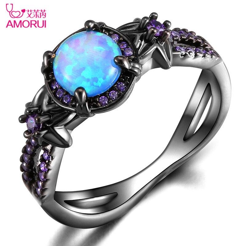 Amorui vendimia negro oro color flor azul ópalo bodas Anillos para las mujeres hombres joyería púrpura birthstone anillo de compromiso bague