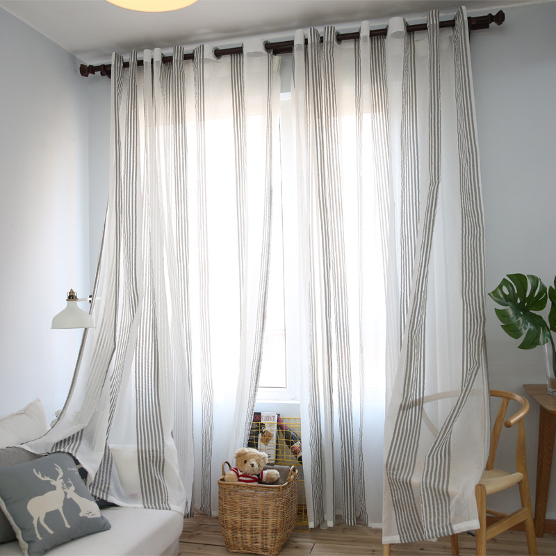 Linen Stripe Kitchen Curtains: Gray Striped Modern Cotton Linen Bedroom Sheer Curtains