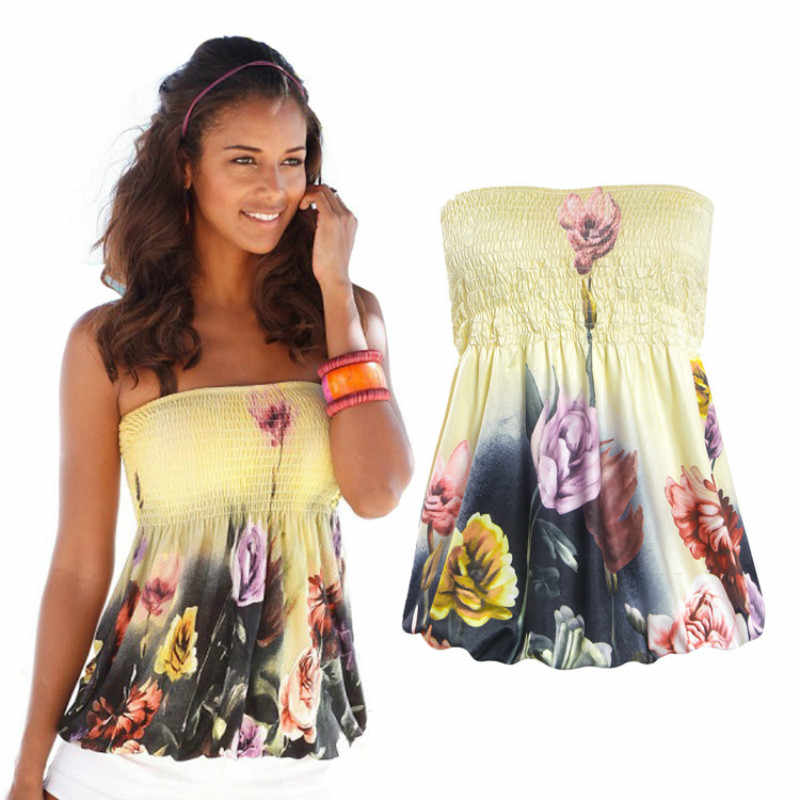 2019 mode Sommer Hemd Sexy Liebsten Blumen Druck Hawaii Blusa Slash Neck Sleeveless Tops Frauen