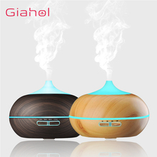 GIAHOL 500ml Aroma Diffuser Aromatherapy Wood Grain Essential Oil Diffuser Ultrasonic Cool Mist Humidifier for Office Home tsundere l air humidifier 500ml essential oil diffuser essential oil wood grain cool mist maker aromatherapy for home