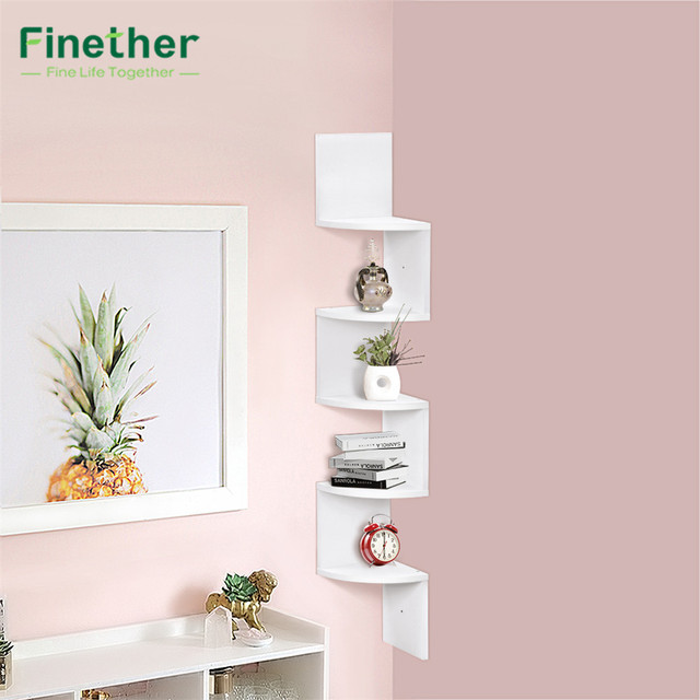 Finether 5 Tier Zig Zag Floating Wall Corner Shelf Unit Wall Mounted