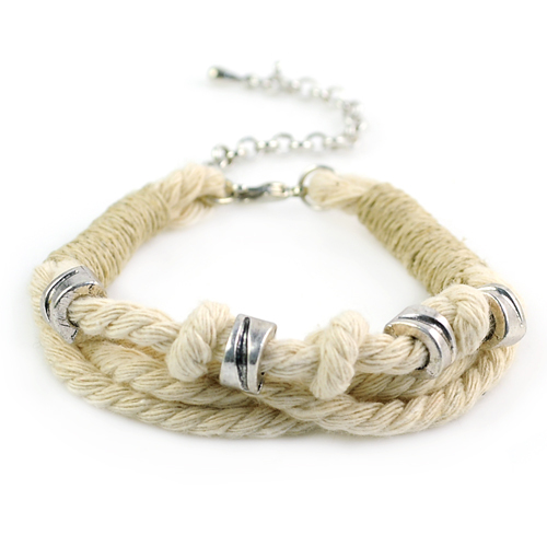 Fashion beige cotton thread handmade alloy beads bracelet for women , BR-1280