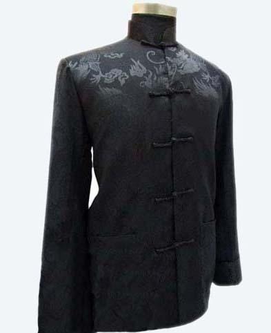 Black Chinese National Trend Men's Rayon Coat Mandarin Collar Jacket Vintage Button Tang Suit Costume S M L XL XXL XXXL MJ010