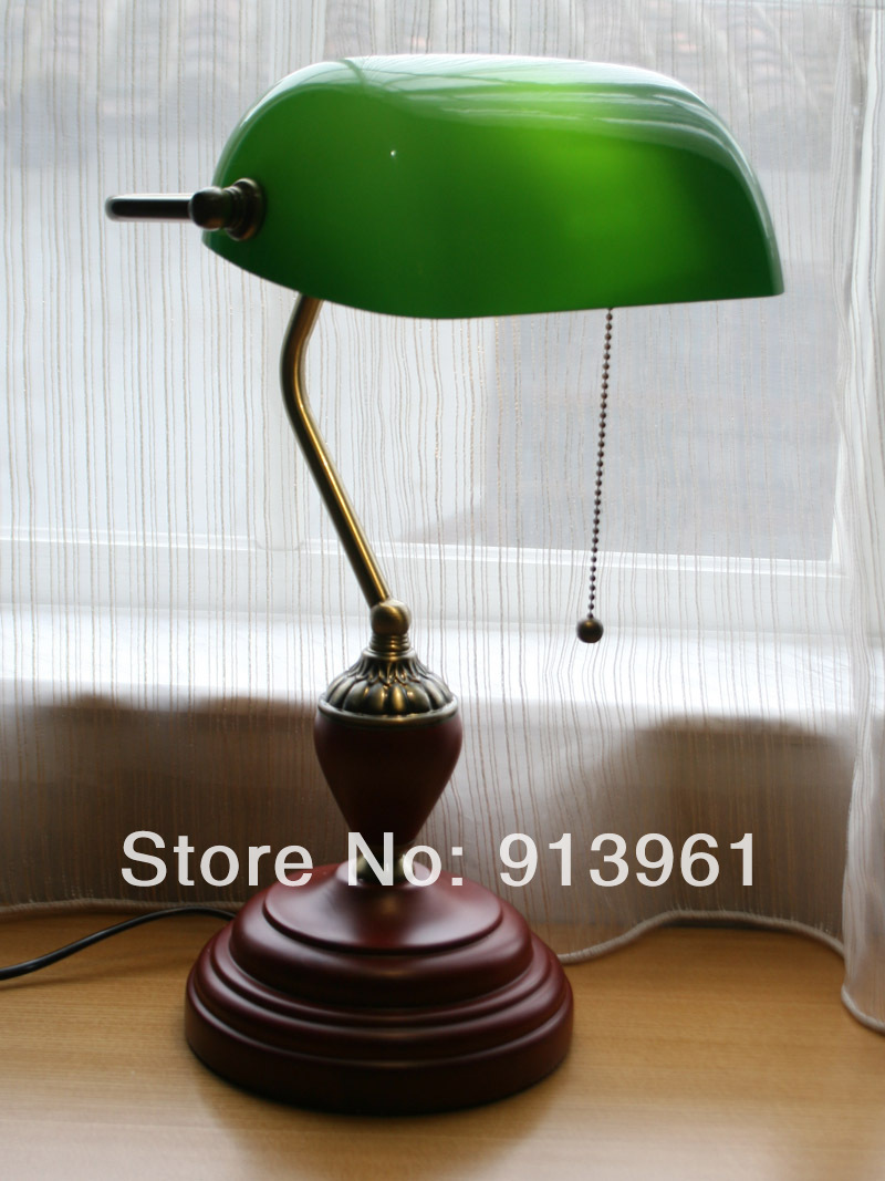 European Classical Vintage desk lamp green cover Bank complex ...