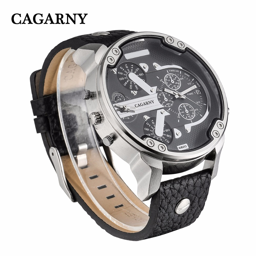 2019 drop shipping top luxury brand cagarny mens watches leather strap big case gold black silver dz military Relogio Masculino male clock man hour (21)
