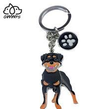 Брелок для ключей для мужчин и женщин, подвеска в виде собаки ротвейлера, серебристого цвета, из металлического сплава, в виде сумки, для муж...
