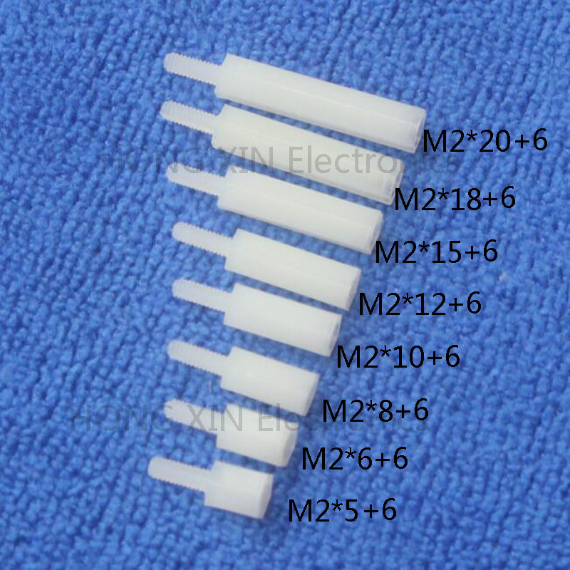 M2*5/6/8/10/12/15/18/20+6 1pcs White nylon Standoff Spacer Standard M2.5 Plastic Male-Female 5-25mm Standoff Kit Repair parts 100pcs m3 nylon black standoff m3 5 6 8 10 12 15 18 20 25 30 35 40 6 male to female nylon spacer spacing screws
