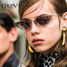 3d2874d12d98e GUVIVI Triangular Do Olho de Gato Do Vintage óculos de Sol Para As Mulheres  Pequeno Designer Shades Óculos Cateye Retro Feminino.