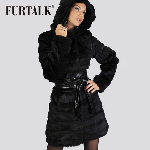 Manteau a capuche en lapin