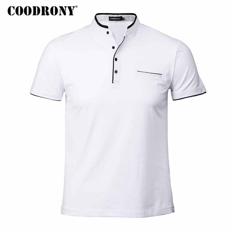 COODRONY Mandarin Collar Short Sleeve Tee Shirt Men 2019 Spring Summer New Top Men Brand Clothing Slim Fit Cotton T-Shirts S7645