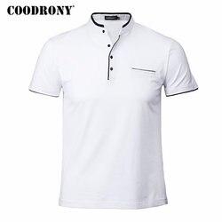 COODRONY اليوسفي طوق قصيرة الأكمام المحملة قميص الرجال 2019 الربيع الصيف جديد أعلى الرجال العلامة التجارية الملابس يتأهل تي شيرتات قطن S7645