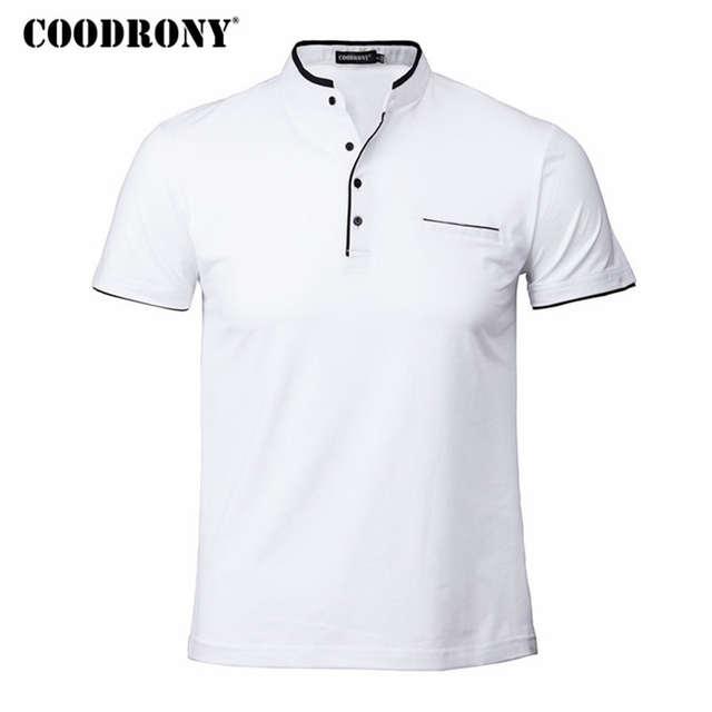 5234904cb placeholder COODRONY Mandarim Collar Manga Curta Camiseta Homens Primavera  Verão 2018 Novos Homens Top Marca de Roupas