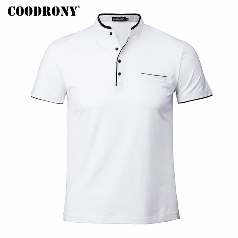 COODRONY Mandarin Collar Short Sleeve Tee Shirt Men 2018 Spring Summer New Top Men Brand Clothing Slim Fit Cotton T-Shirts S7645 shein black elegant mock neck scallop trim cut out v collar short sleeve solid tee summer women weekend casual t shirt top