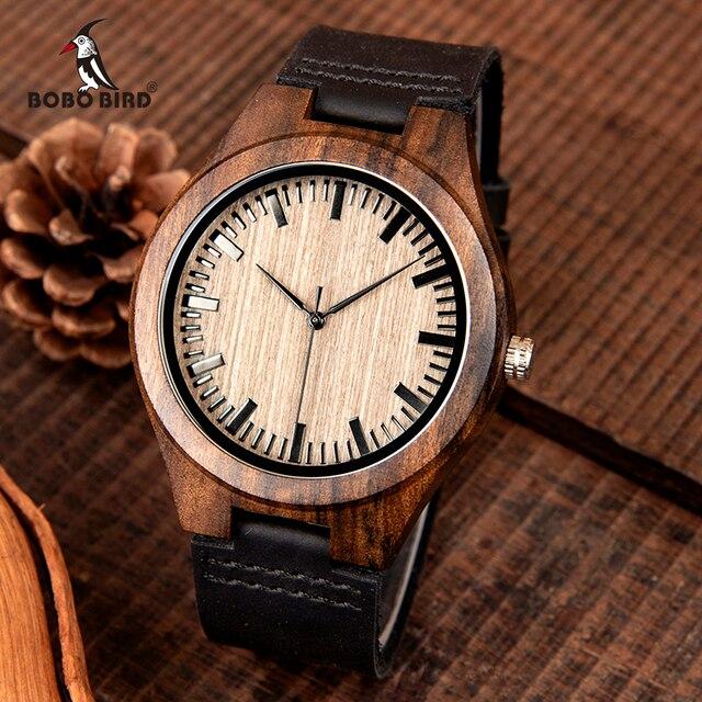 Часы мужские из эбенового дерева BOBO BIRD, японские кварцевые деревянные наручные часы t, подарок для мужчин, принимаем логотип