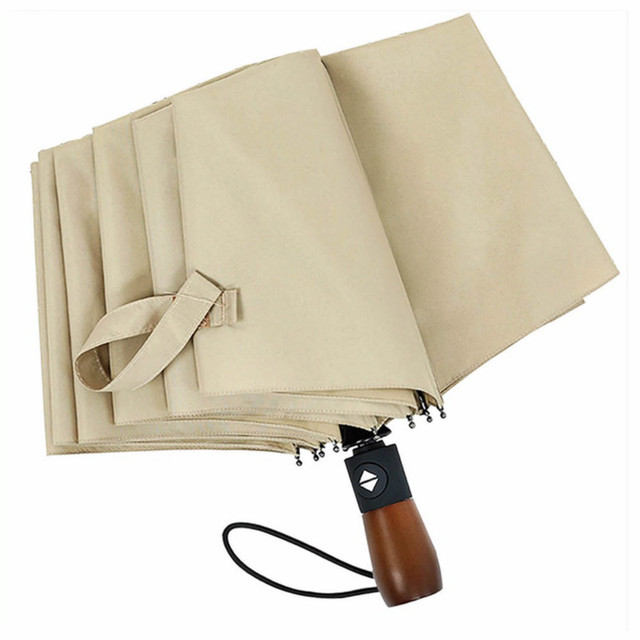 Creative for men rain sun umbrella women automatic tri-fold folding 10 bone wooden handle business women's umbrella free sale 3