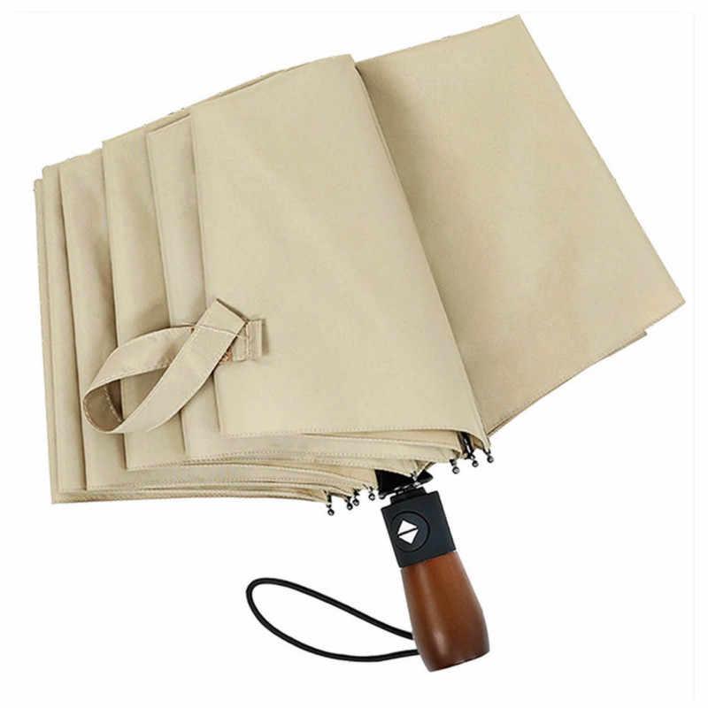 Kreatif untuk Pria Hujan Payung Matahari Wanita Automatic Tri Lipat Lipat 10 Tulang Kayu Menangani Bisnis Wanita Payung dijual Secara Gratis 3