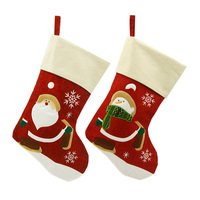 New Year Lovely 2 Pcs Christmas Stocking 18 Santa Claus Snowman Gift Sock Festival Xmas Socks
