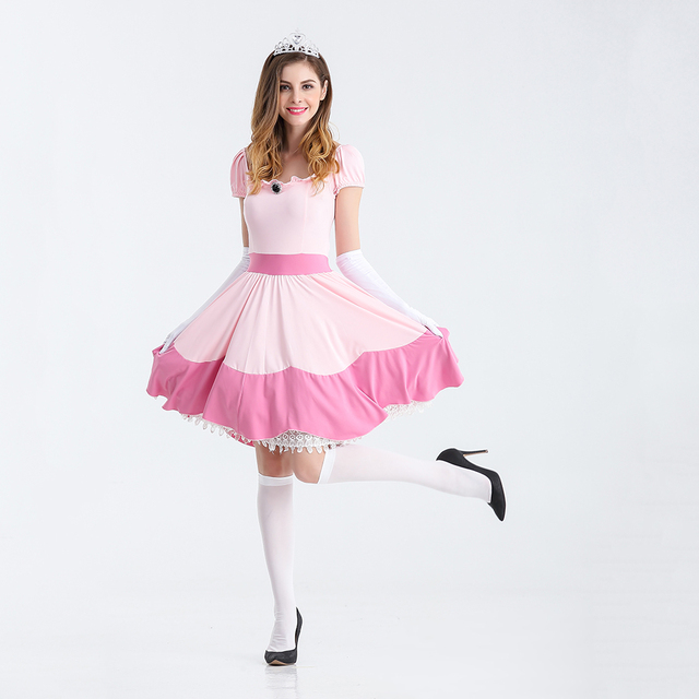 9aedf33ef307 Deluxe Women Adult Pink Princess Peach Costume Halloween Sexy Princess  Peach Super Mario Brothers Cosplay Fancy
