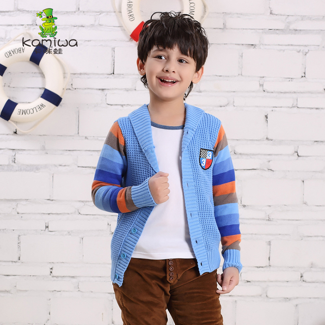 KAMIWA 2017 New Teen Boys Knitted Sweaters Casual Cardigan Coats Spring Autumn Overwear Children's Top Clothing Kids Clothes