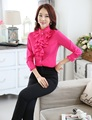 Novelty Rose Spring Fall Formal Uniform Styles Professional Business Women Work Suits Blouses And Pants Female Trousers Set