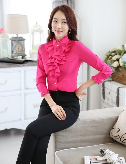 Novidade rosa primavera Formal de estilos profissional mulheres trabalho ternos blusas e calças calças conjunto feminino
