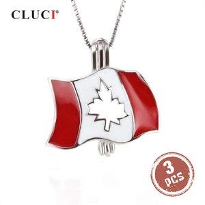 CLUCI 3 шт серебро 925 канадская подвеска в виде флага 925 пробы Серебряный Кленовый флаг кулон ювелирные изделия для дня Канады SC289SB