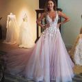 Arabic Prom Dresses 2016 Deep V Neck Hand Made Flowers Lace Appliques Tulle Pink Vestido de Festa Prom Dresses