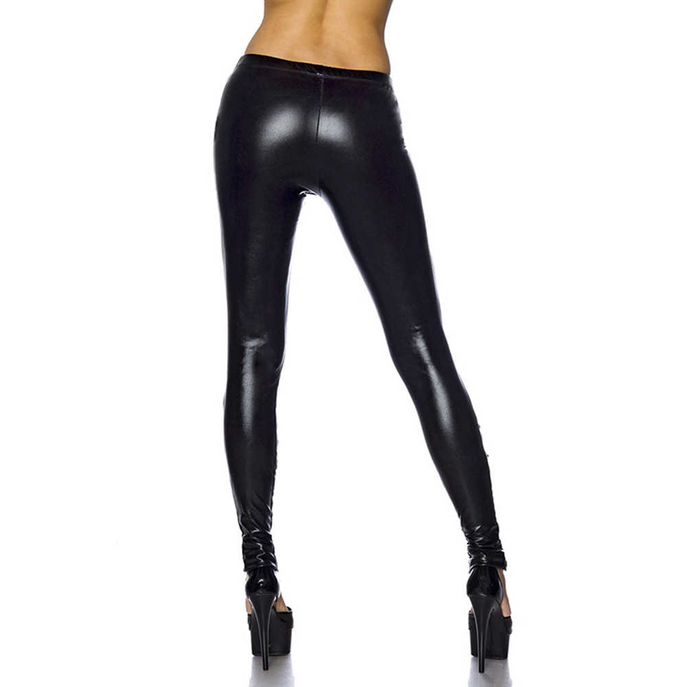 b7e548f2d2d8f9 ... Black Sexy Strappy Leather Leggings Exotic Apparel Women Lace Up Gothic  Punk Shiny Faux Vinyl Bandage