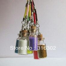 Новое поступление 50 x смешанный цвет подвеска в форме стеклянной бутылки с блестками и мобильными струнами маленькие Желая бутылки с пробкой флакон искусство банки