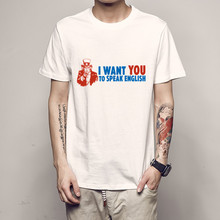 b2bc8ab1b I want you to speak English Tops Tee Design Funny T Shirt for Men  Comfortable Breathable