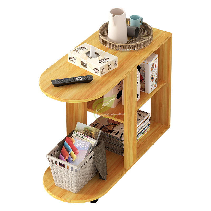 Multi-use Coffee Table Modern Living Room Sofa Corner Side Table Imitation Wood Side Cabinets Bedside Storage Rack with Wheel