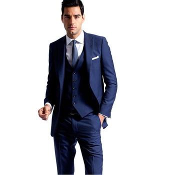 Navy Blue Groom Tuxedos Peaked Lapel Slim Fit Best Men's Wedding Suits Prom Holiday Suit New Arrival (Jacket+pants+Vest)