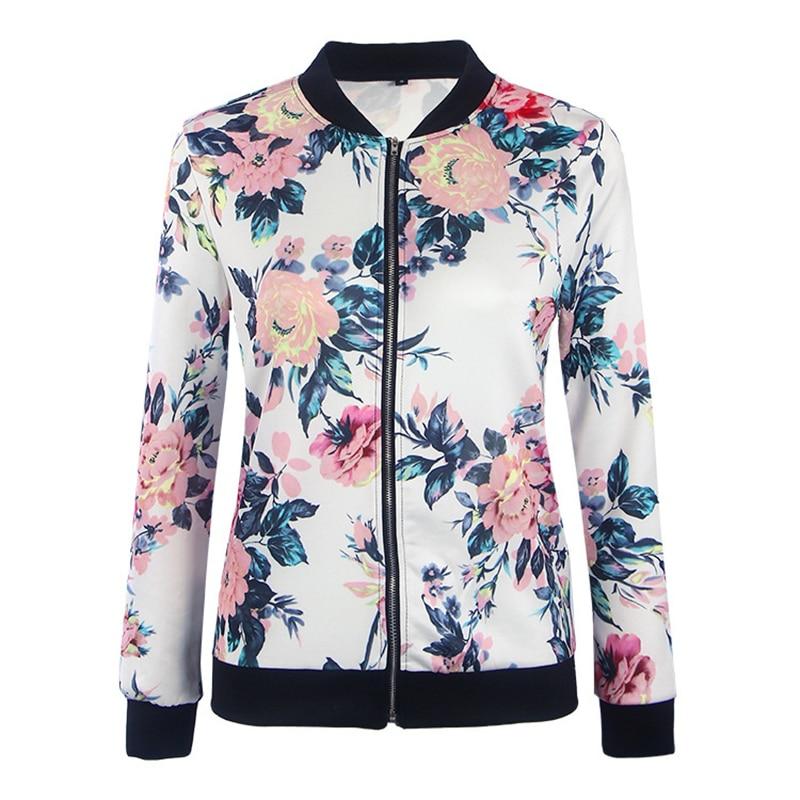 Autumn Women Floral Bomber Jacket Print 2017 Full Feminina Ladies Casual Girls Zipper woman Outwear Coat New Fashion Plus Size