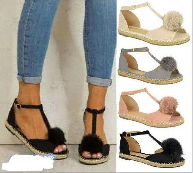 974e59d2dda Zapatos Mujer Vintage ladies summer sandals women flats open toe woman flat  heels casual shoes T-strap faux fur plush F180003